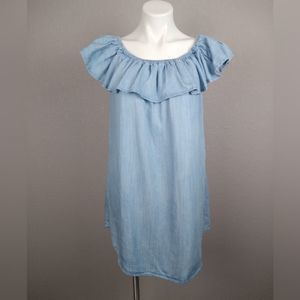 Lulu's Chambray Off-the-Shoulder Dress Size Large